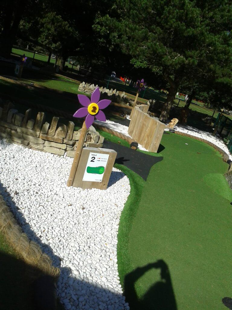 Outdoor activities at Walton Hall and Gardens consist of adventure golf, pictured here
