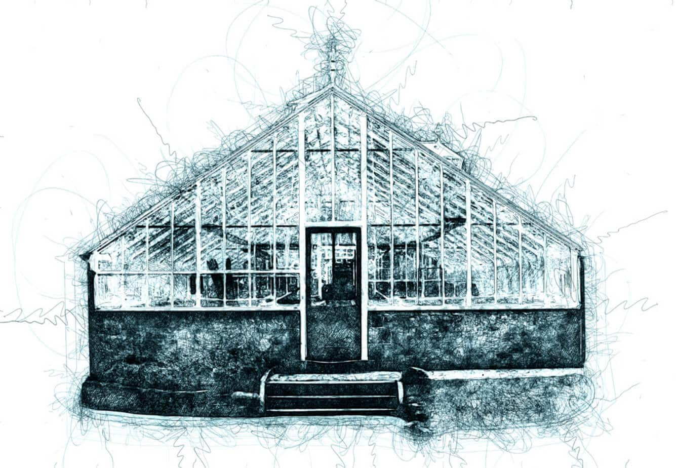 The refurbished glasshouses and conservatories - an artist impression