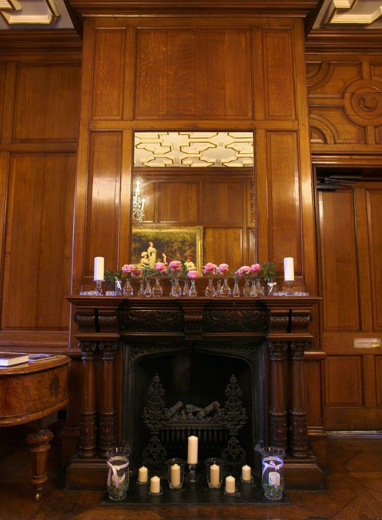 A picture of the oak-panelled hallway. Hall event hire for your special event.