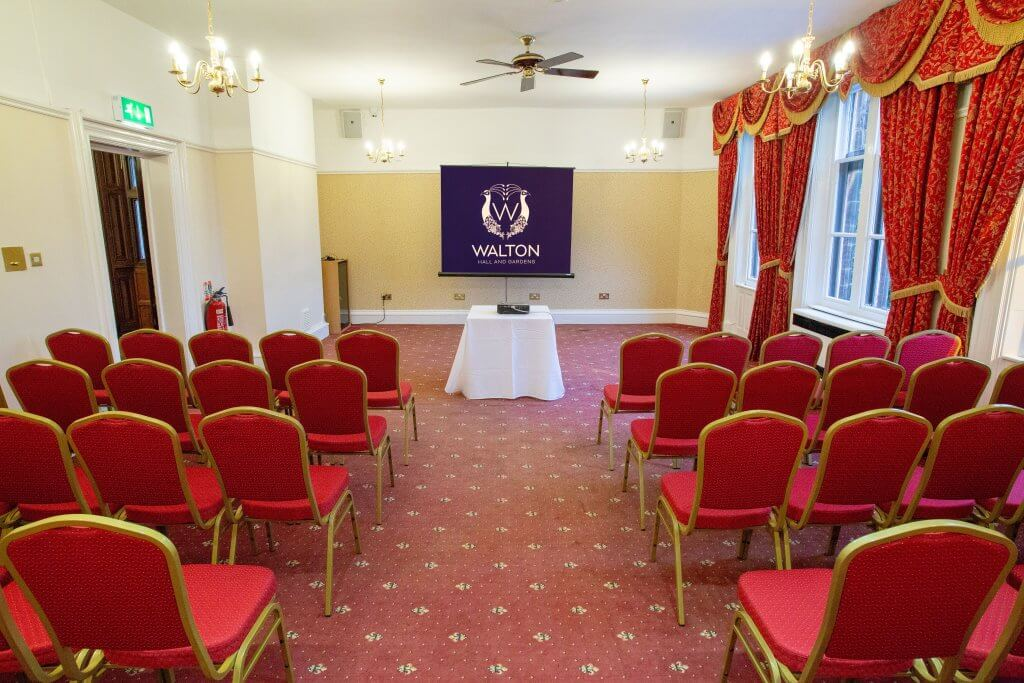 Corporate events can be set up in theatre style at Walton Hall and Gardens