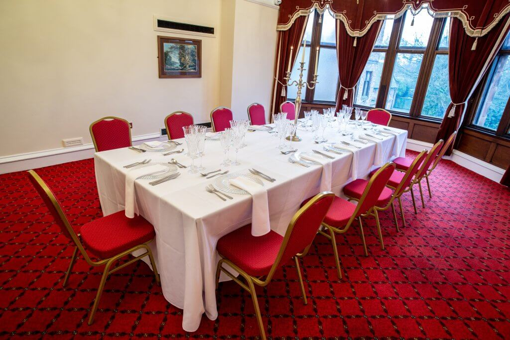 Large banqueting table set up to promote corporate events at Walton Hall and Gardens