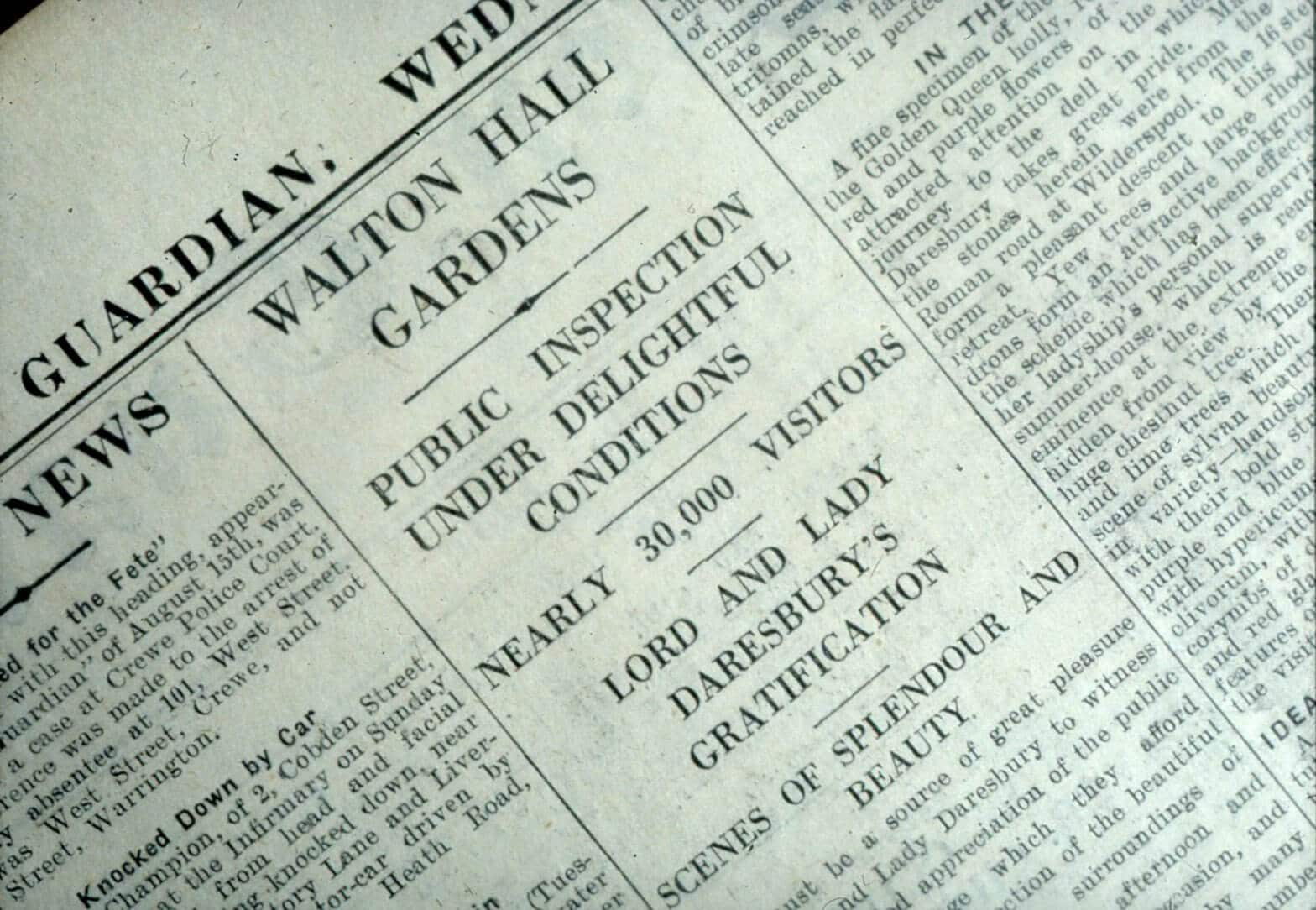 A piece of heritage. A newspaper snippet which details one of Walton Hall and Gardens open days.