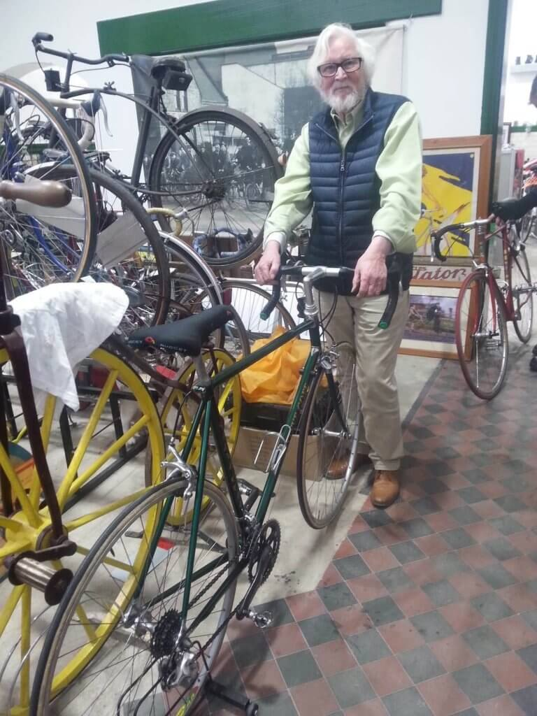 Paul working on one of his bikes at the Cycle Museum