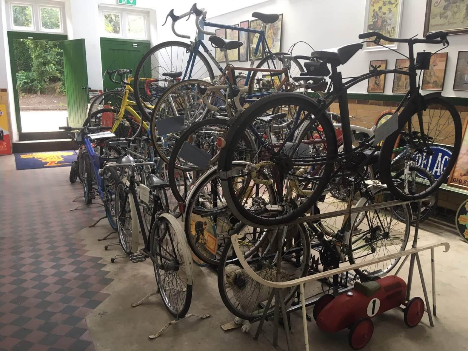 Bikes on display at the Cycle Museum at Walton Hall and Gardens