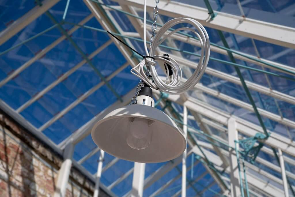 An image of one of the new lighting fixtures at the glasshouses