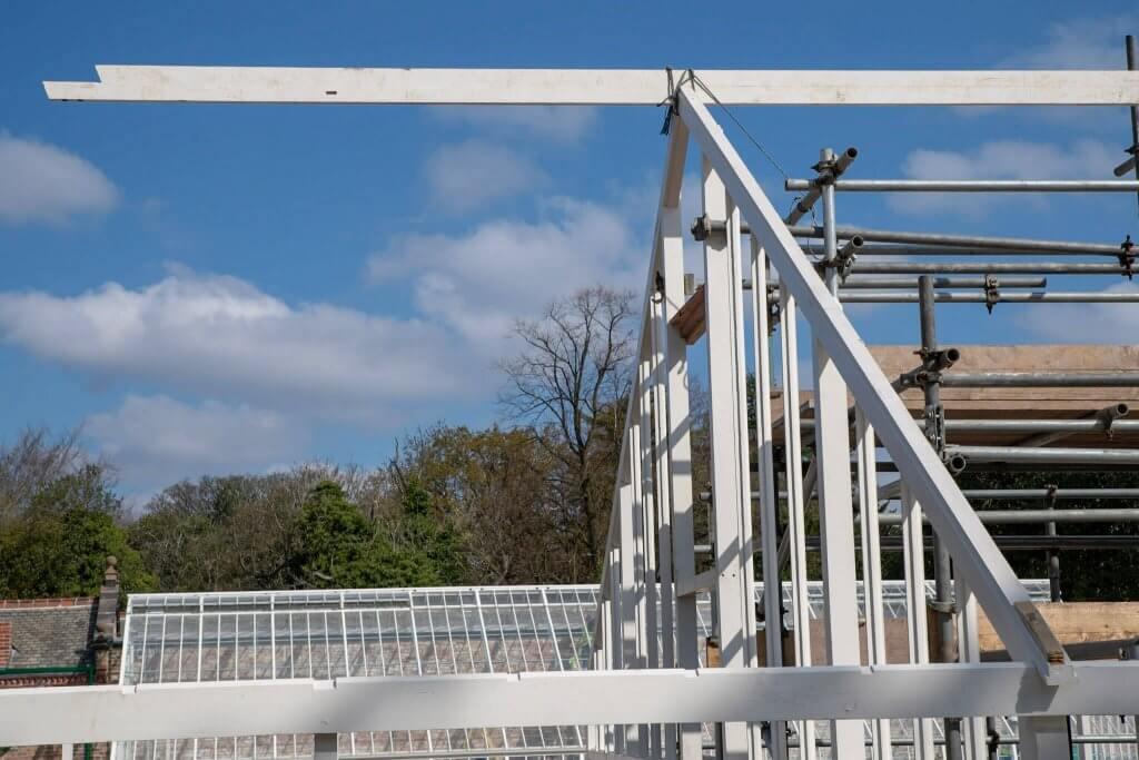 Glasshouse frame in the sunshine