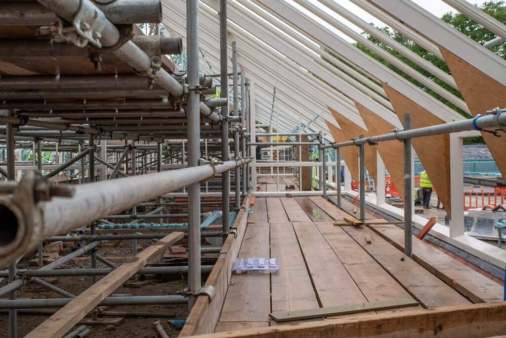 A picture taken high up on scaffold erected inside the glasshouses. A picture for the glasshouses restoration gallery.