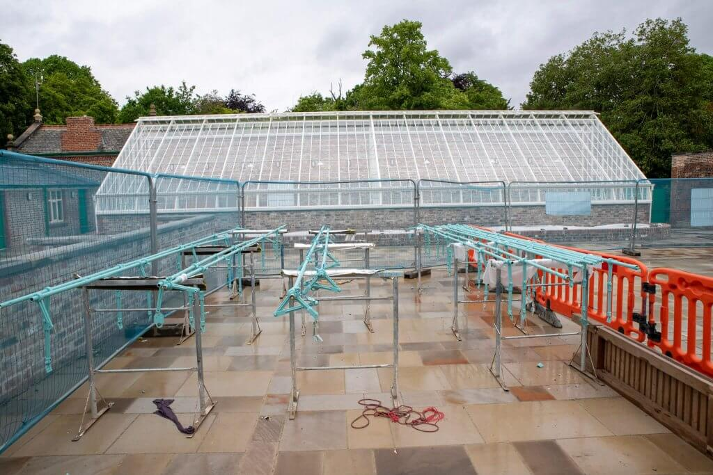 Picture taken for the glasshouses restoration gallery of the ironwork. Painted and ready to be reinstalled.