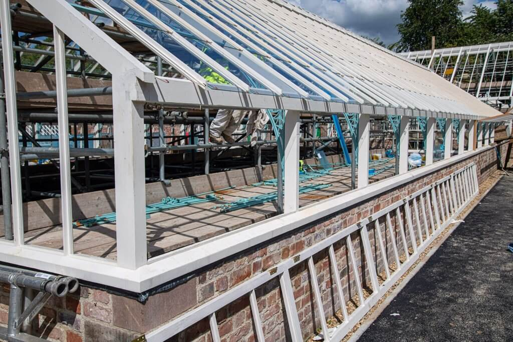Glasshouses restoration gallery image of the timber frames without glass