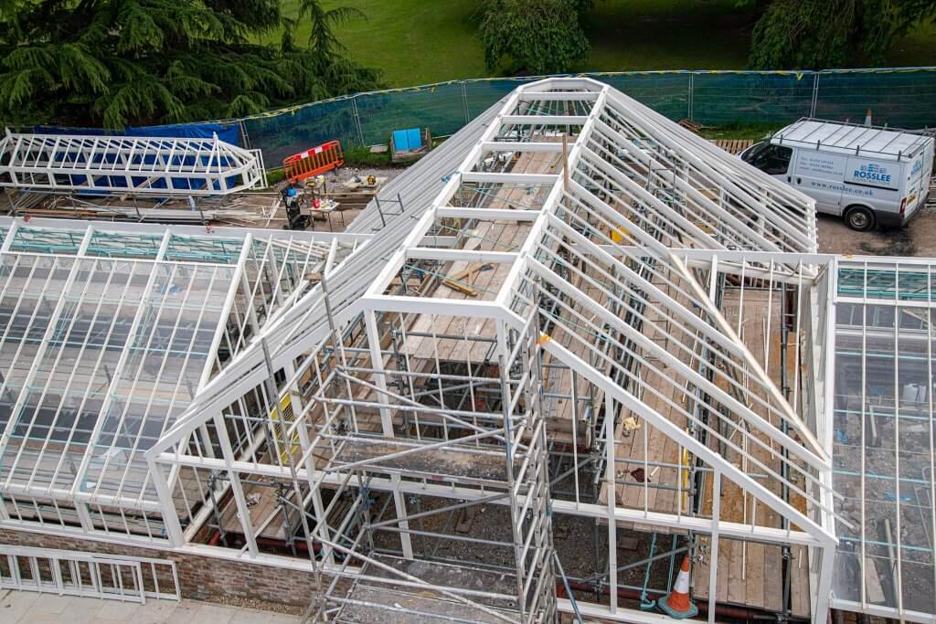 Ariel view of the glasshouses. Part of the glasshouses restoration gallery