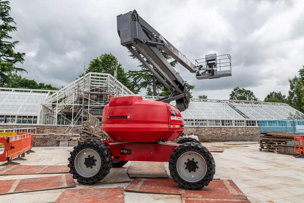 Picture of cherry picker on site at the conservatory restoration. Now part of the glasshouses restoration gallery.