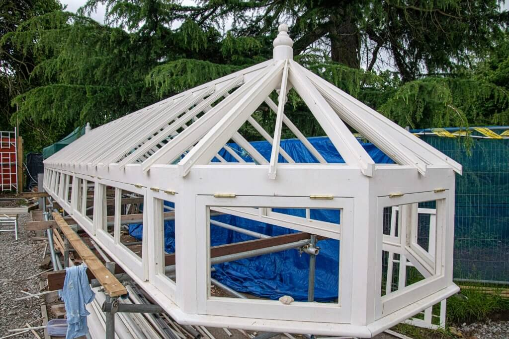 Timber frames on the top of the restored glasshouses. Part of the glasshouses restoration gallery.