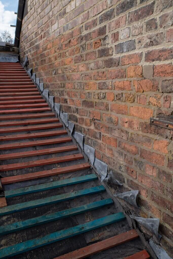 Stairs under restoration during the glasshouse restoration