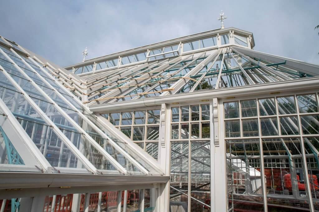 Timber frame of the conservatories ready for glass. Picture taken for the glasshouses restoration gallery.