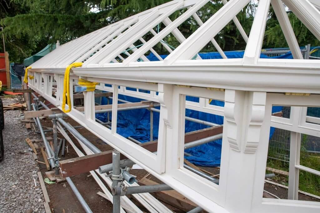 Timber frame of the glasshouses. Part of the glasshouses restoration gallery.