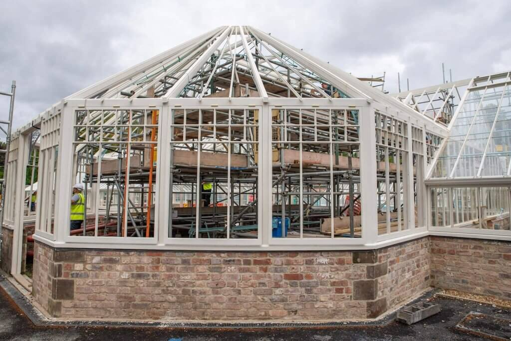 The timber frame of the glasshouses. Picture by Andy Gilbert.