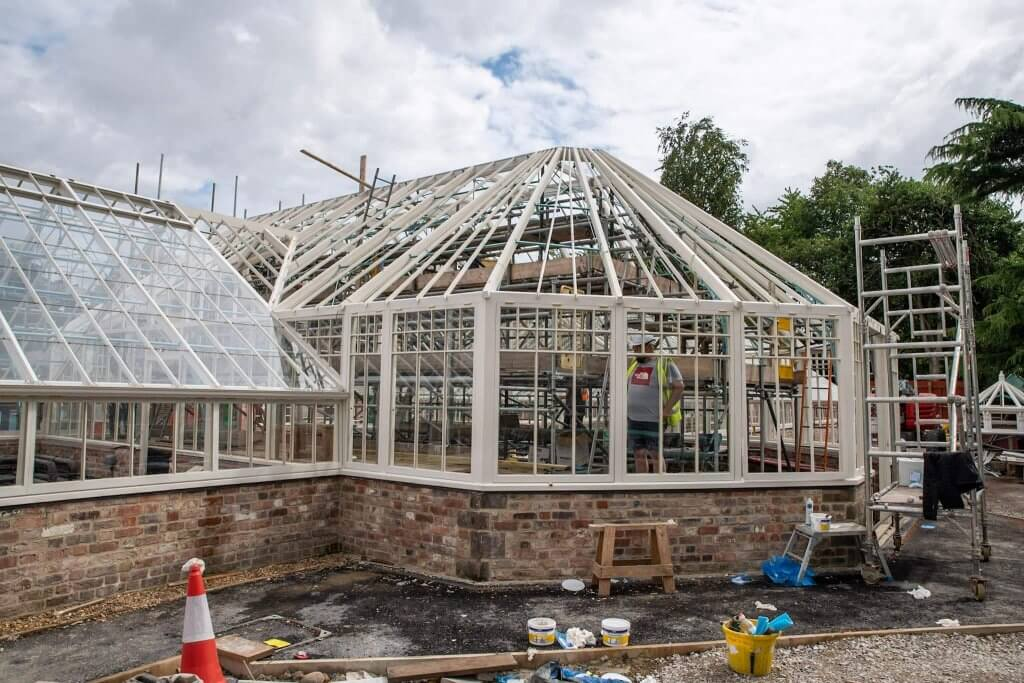 Restoration of the glasshouses in July 2019. Part of the glasshouses restoration gallery
