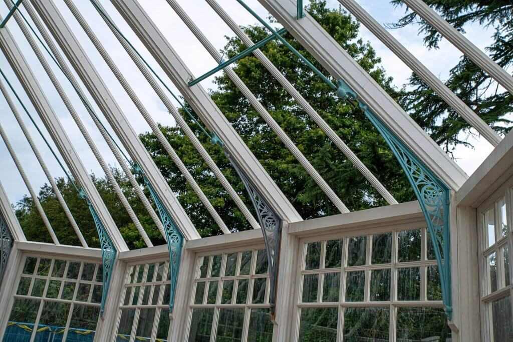 Close up of the glasshouses ironwork.