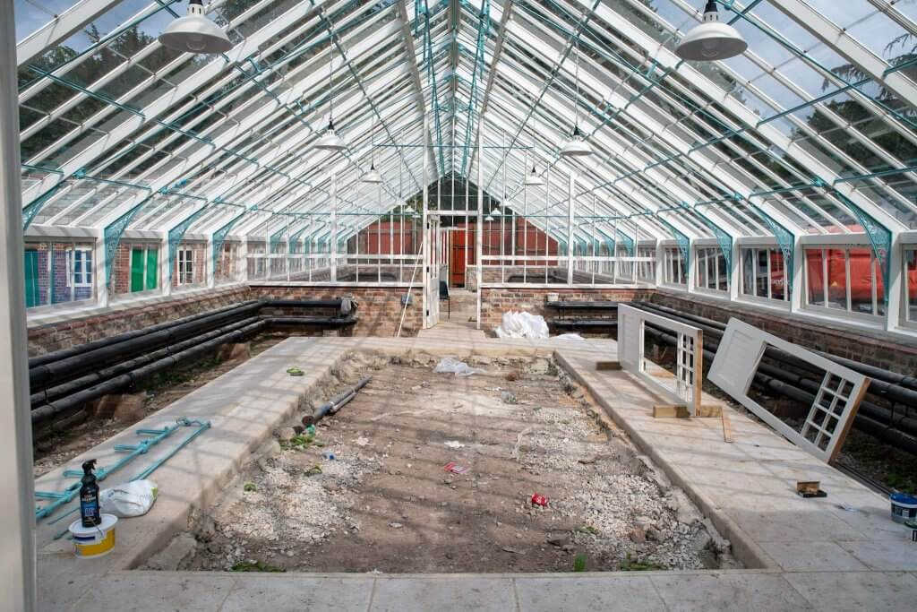 The glasshouses before they have their glass panels in place. Picture part of the glasshouses restoration gallery