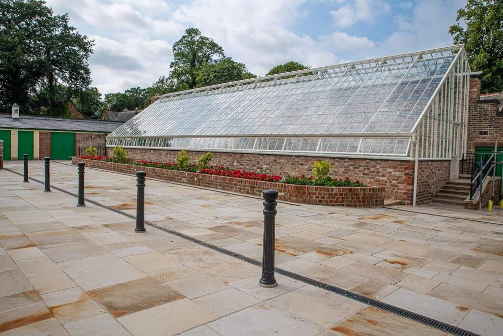 The completed conservatory viewed from the shippon yard. Picture part of the glasshouses restoration gallery.