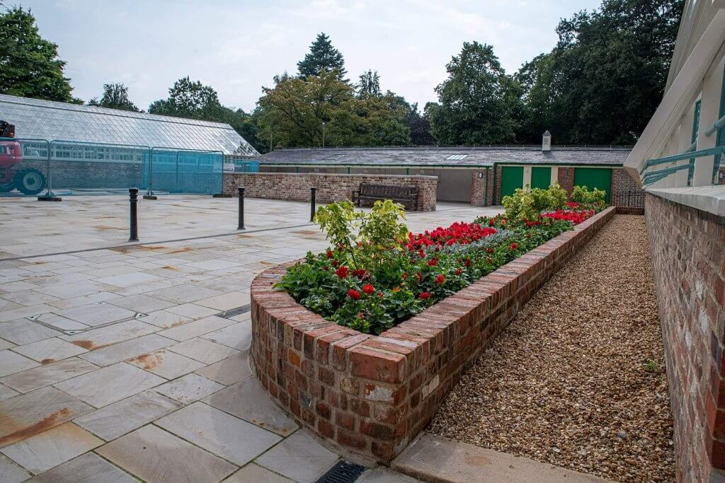 The flowerbeds at the newly restored conservatories. Picture is now in the glasshouses restoration gallery
