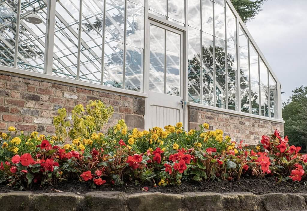The entrance of the glasshouses now a place of learning