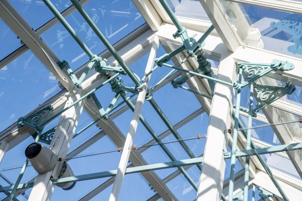 The ironwork at the newly restored glasshouses