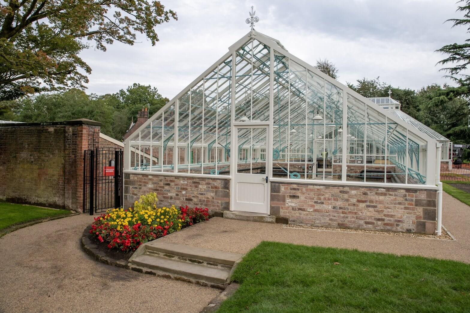 The side entrance to the glasshouses at Walton Hall and Gardens