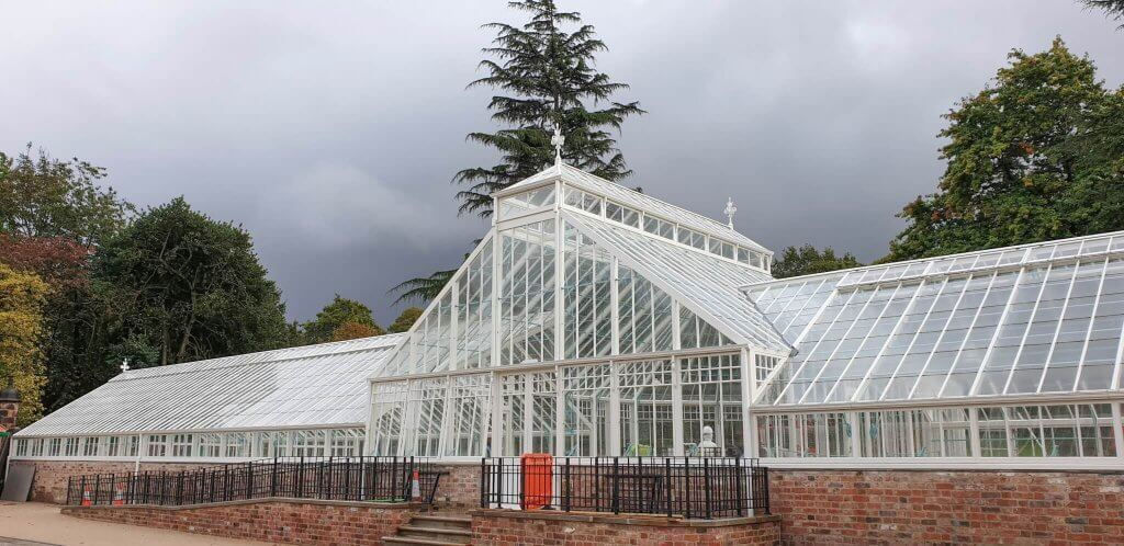Glasshouses looking stunning under the storm clouds