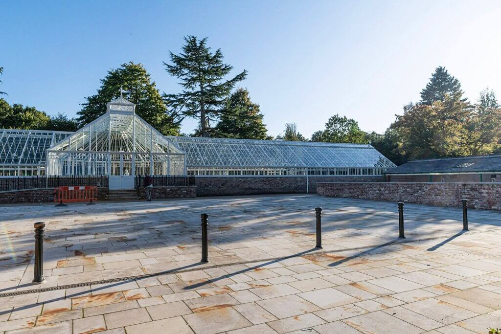 The glasshouses looking stunning in the sunshine