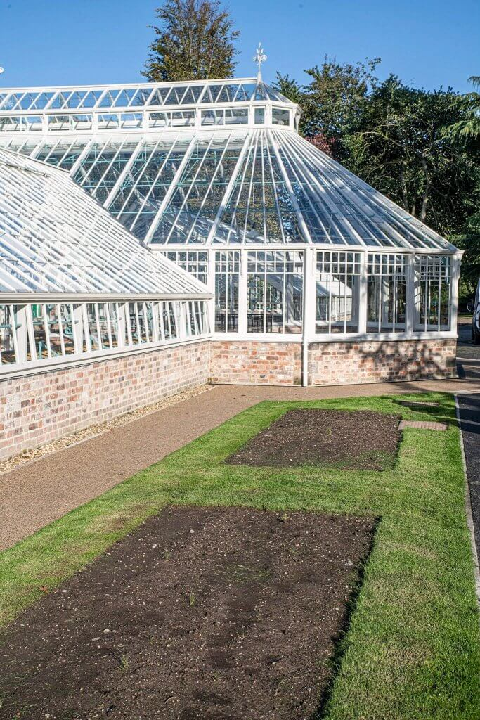 New lawns laid down at the glasshouses at Walton Hall and Gardens