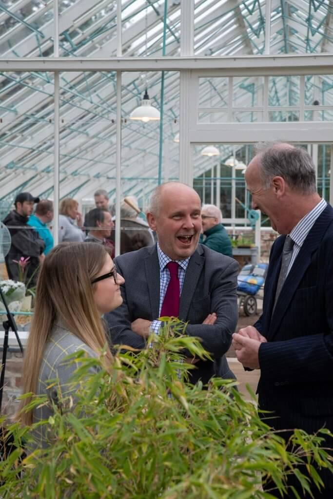 Councillor Bowden at the glasshouses opening ceremony