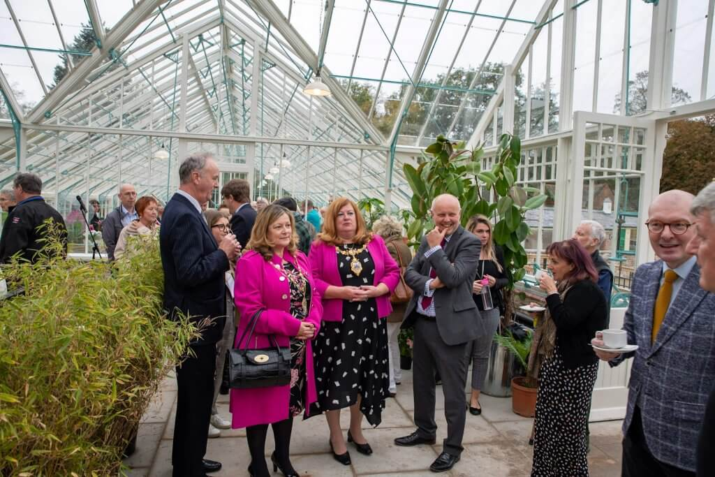 The Mayor, Cllr Bowden and others at the glasshouses opening ceremony