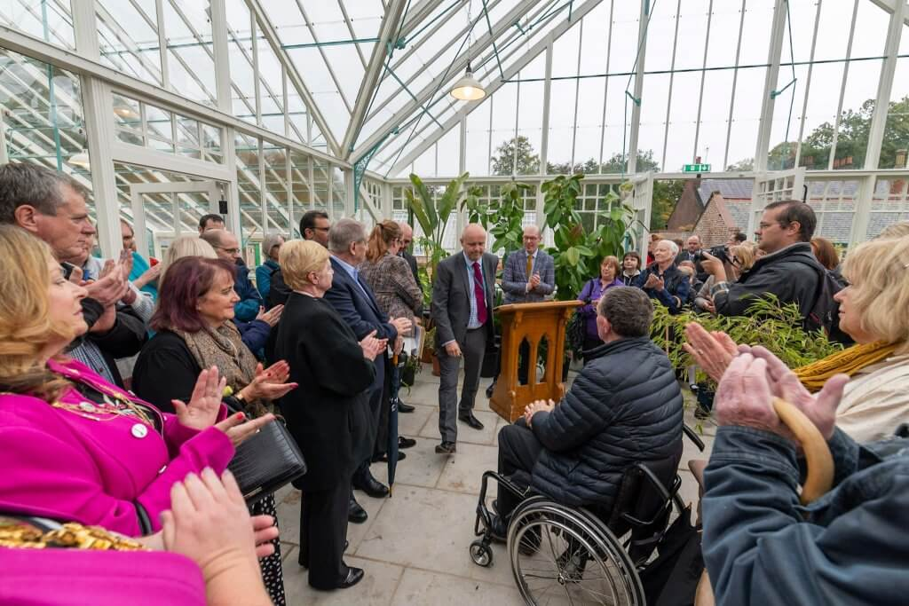 The speeches at the glasshouses opening ceremony