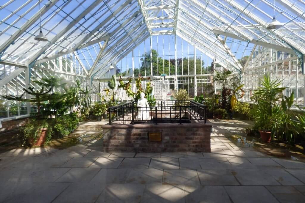 The glasshouses in the sunshine