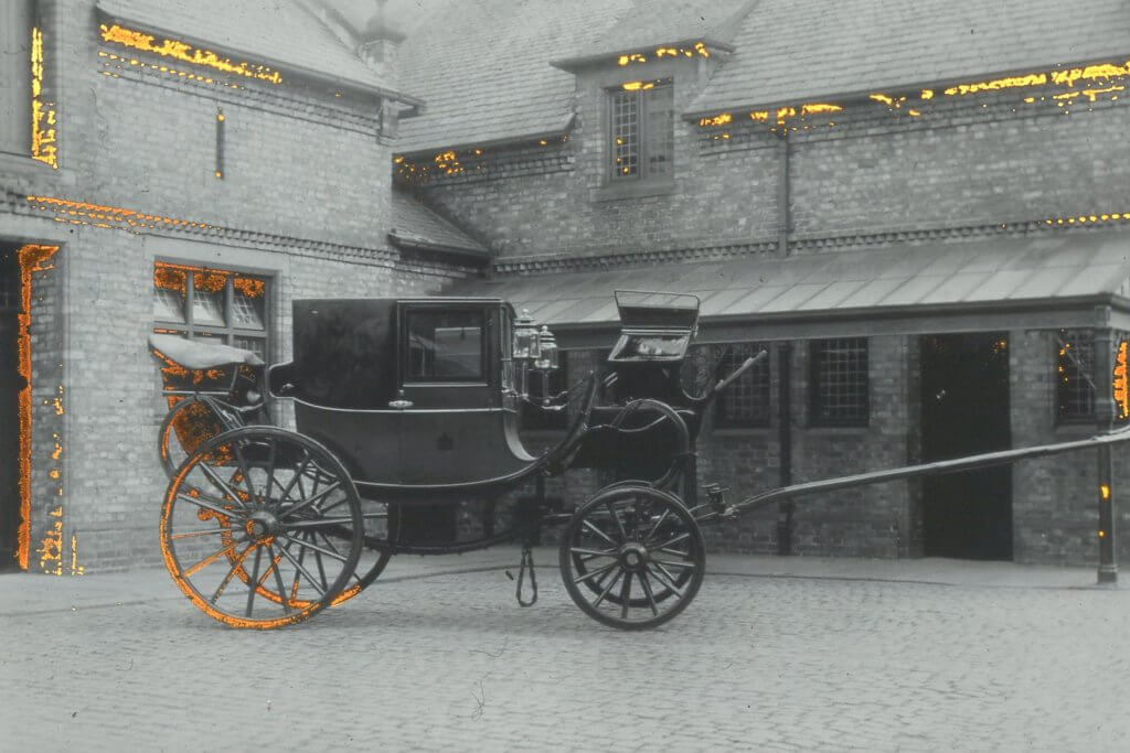A fancy carriage owned by the Greenalls inside the Stables at Walton Hall and Gardens
