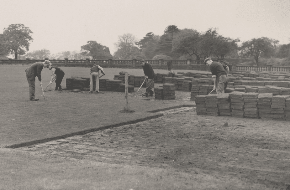 Bowling green being laid at Walton Hall Gardens Circa 1952. Heritage of Walton Hall and Gardens.