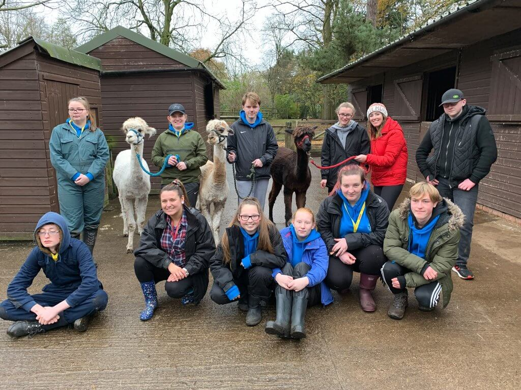 Myerscough students gathered at the Children's Zoo