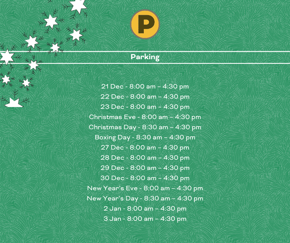 Parking opening times