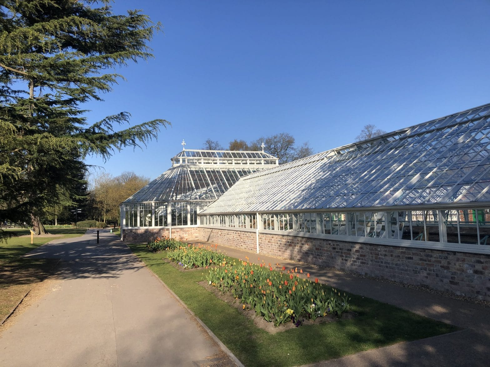Walton Hall and Gardens in the sunshine - the glasshouses